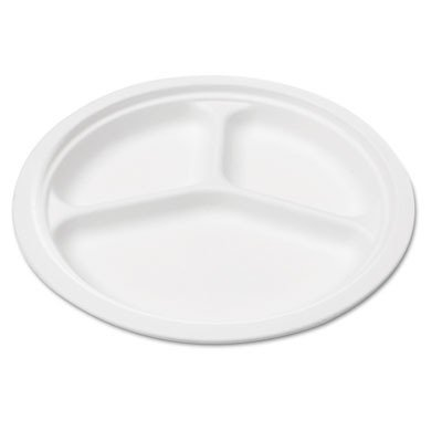 Bagasse 10 Three-Compartment Plate, Round, White, 125/Pack, Sold as 1 Package