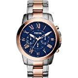 Fossil Men's FS5024 Grant Chronograph Stainless Steel Watch - Two-Tone Rose and Silver