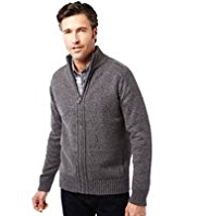 2in Longer Zip Through Ribbed Cardigan