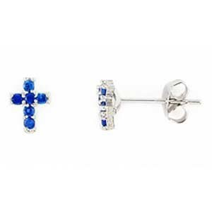 Sterling Silver Created Blue Sapphire