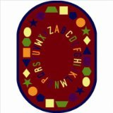 "Joy Carpets Kid Essentials Early Childhood Oval First Lessons Rug, Red, 10'9"" x 13'2"""