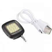 Popular Smartphone LED Flash & Fill-light 16 LED Flashlight for Selfie Shutter Sync Function - Black