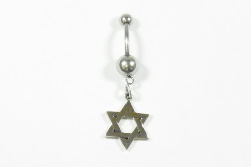 Belly Ring Star of David Smooth Finish in Sterling Silver Kdaa-br