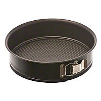 Carbon Steel Non Stick Springform Cake Pan - 9 Inch with Removable Waffle Bottom and Quick-Release Latch