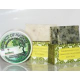 3 Shea Butter Natural Skincare Products - Instinct of Nature Shea Butter Body Cream (160ml), Oatmeal and Almond Shea Butter Soap Bar with Cedarwood and Lime Essential Oils (115-135g), & Skin-Firming Soap Bar with Shea Butter and Mixed Garden Herbs (115-1