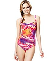 Twisted Front Tropical Palm Print Ruched Swimsuit