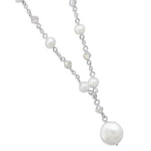 White Coin Pearl and Swarovski Crystal Sterling Silver Necklace