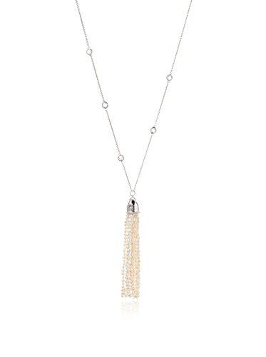 Anzie Aztec White Topaz & Cultured Freshwater Pearl Lariat Necklace