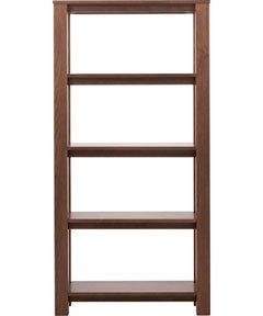 Denver Solid Wood Walnut Veneer Finish Tall Open 4 Shelf