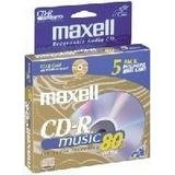 Maxell 5-pack CDR Recordable Media 80minfor Music with slimline Case