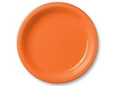 "10 1/4"" Orange Plastic Plates 20 per pack - 1"