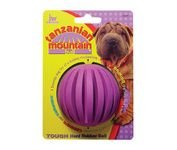 JW Pet Company Tough By Nature Tanzanian Mountain Ball Regular Dog Toy Assorted Colors