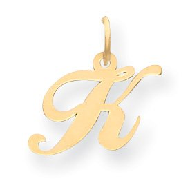 14K Small Fancy Script Initial K Charm - Measures 16.8X16.3Mm - Jewelryweb