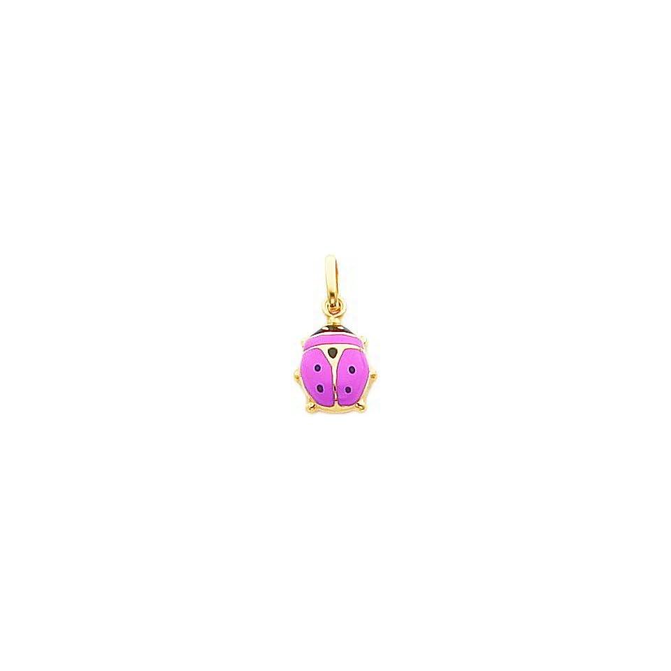 14K Gold Pink Enameled Ladybug Charm Jewelry