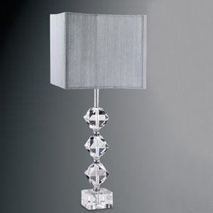 cut crystal base table lamp complete with silver string square shade lighting. Black Bedroom Furniture Sets. Home Design Ideas