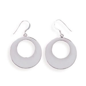 Rhodium Plated Graduated Polished Circle Earrings on French Wire