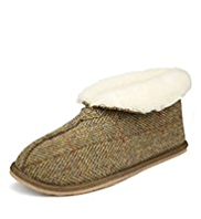 Shearling Tweed Boot Slippers