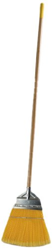 """Carlisle 4564304 Wood Handle Lobby Broom With Metal Top, Polypropylene Bristles, 55"""" Overall Length X 12"""" Width, Yellow front-75459"""