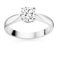 0.42 Carat F/VS1 Round Brilliant Certified Diamond Solitaire Engagement Ring in 18K White Gold