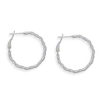 Large Rope and Polished Twist Design Hoop Earrings