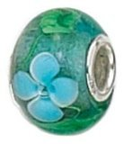 Zable Hand-Crafted Blue Green Flowers Nature Sterling Silver Charm