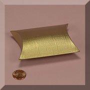 200ea - 3-7/8 X 1-3/8 X 3-7/8 Gold Emboss Linen Pillow Box