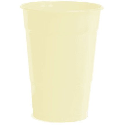 Amscan Big Party Pack 50 Count Plastic Cups, 12-Ounce, Vanilla Crème