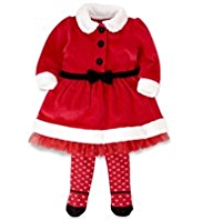 2 Piece Cotton Rich Mrs. Santa Dress & Tights Outfit