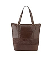 M&S Collection Leather Weave Panelled Shopper bag