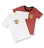 2 Pack Pure Cotton Manchester United Football Club Vests