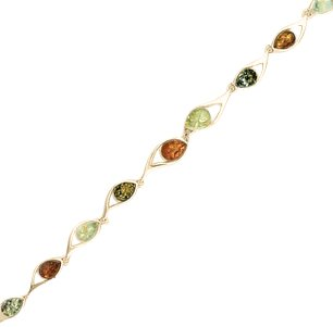 18ct gold generously plated amber bracelet hidden gems