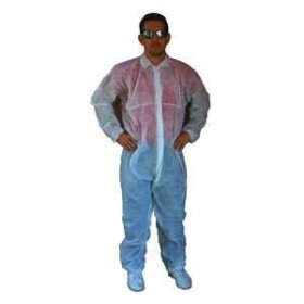 Disposible Poly Coveralls Plastic Suit-- Large Hooded