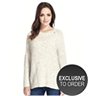 Petite Cable Knit Zipped Flecked Jumper with Wool