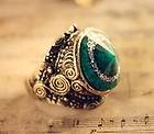 CosmoCow JE136 Antique Ring, Faux Emerald Ring, Vintage Ring, Hat Ring, Carving Ring