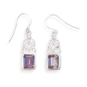 Swirl Design Earrings with Rectangle Mystic Topaz®