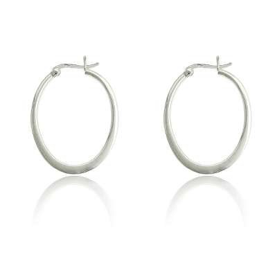 Hot and Trendy Jewelry Earrings 925 Sterling Silver Plated with Flat Oval Hoop design(WoW !With Purchase Over $50 Receive A Marcrame Bracelet Free)
