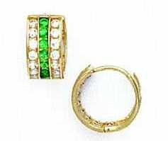 14ct Yellow Gold 1.5 mm Round Clear and Green CZ Earrings