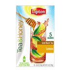 Lipton To Go Stix Iced Black Tea Mix, Tea and Honey, Lemon, 10Count (Pack of 12)