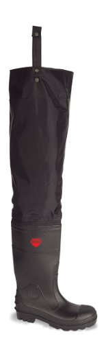 VITAL VW164 Avon Black Thigh Waders PU Coated Nylon with PVC Wellington Boots Steel Toe Cap and Midsole Protection