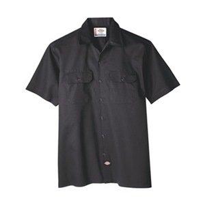 Short Sleeve Work Shirt, Twill, Black, 2XT