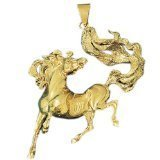 CleverEve 14K Yellow Gold Bolting Mustang Pendant with Flying Tail 45.2 Grams