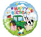 "Happy Birthday Adorable Farm Animals Tractor 18"" Mylar Balloon Party Supplies"