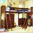 Two Twins Lea Deer Run L-Shaped Wood Bi-Loft Bunk Bed In Brown Cherry Finis ....