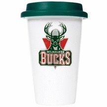 Nba Milwaukee Bucks 12-Ounce Double Wall Tumbler With Silicone Lid, Green