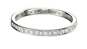 JR Jewellery Sterling Silver 2.3mm Pave Set Round Cubic Zirconia Full Eternity Ring