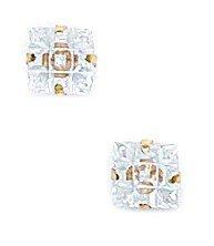 14k Yellow Gold 5x5mm 9 Segment Square CZ Light Prong Set Earrings - JewelryWeb