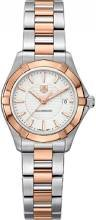 Tag Heuer Aquaracer White Dial 18kt Rose Gold Stainless Steel Ladies Watch WAP1450BD0837