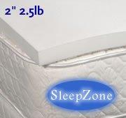 "2"" 2.5Lb. Sleep Zone Memory Foam Mattress Pad Overlay Topper, California King"