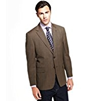 Big & Tall Sartorial Pure New Wool 2 Button Herringbone Checked Jacket