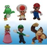 Popco Super Mario Set of 6 Mini Figure Mario, Peach, Toad, Luigi, Yoshi & Donkey Kong - 1